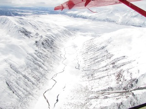 遊覧飛行から見たデナリの氷河