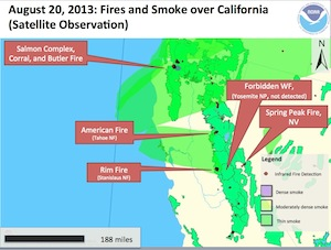 山火事の地図