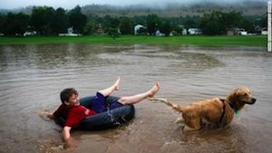 洪水の中で犬と遊ぶ子供