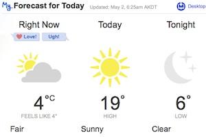 5月2日のお天気@アンカレッジ