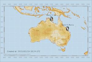 オーストラリアに台風接近中