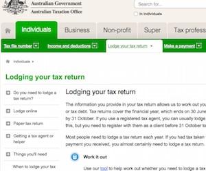 ATO(オーストラリア税務署)のホームページ