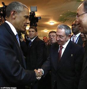 オバマ大統領とカストロ評議会議長