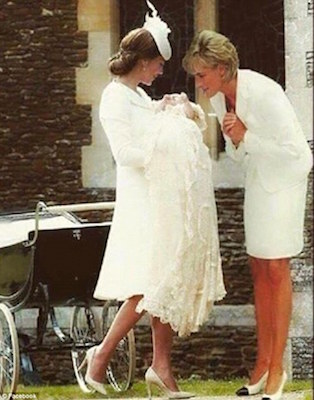 A Photoshopped image showing Princess Diana superimposed into a picture from Princess Charlotte's christening has gone viral on Facebook Read more: http://www.dailymail.co.uk/femail/article-3202517/Photoshopped-picture-Princess-Diana-bending-Charlotte-christening-alongside-Duchess-Cambridge-goes-viral.html#ixzz3jJIqlko4 Follow us: @MailOnline on Twitter | DailyMail on Facebook