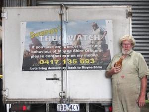 トラックに貼った抗議文 by Mortlake Dispatch