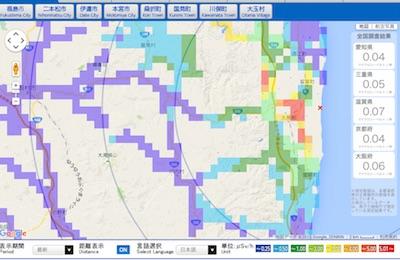 福島県放射線量マップ